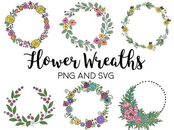 Photo of FLORAL WREATHS, hand-drawn wreaths, doodle clipart, drawn wreaths, png, svg, vector wreaths, wedding, cute wreaths, wreaths, flower frame