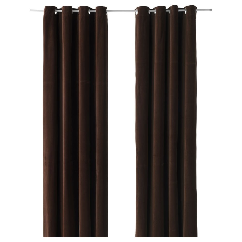 Ikea Sanela Dark Brown Curtains 2 Panels Blackout Cotton