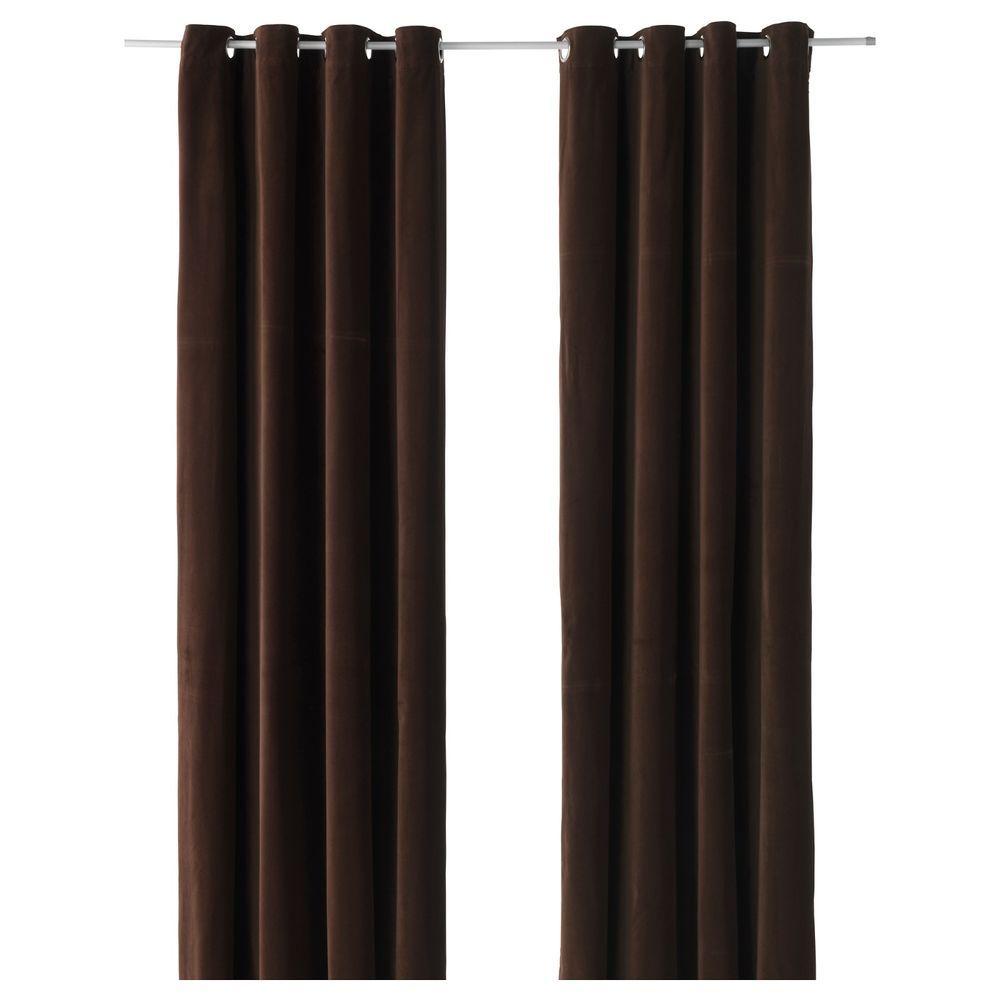 Light brown curtains - Ikea Sanela Dark Brown Curtains 2 Window Panels Blackout Cotton Velvet 55x118