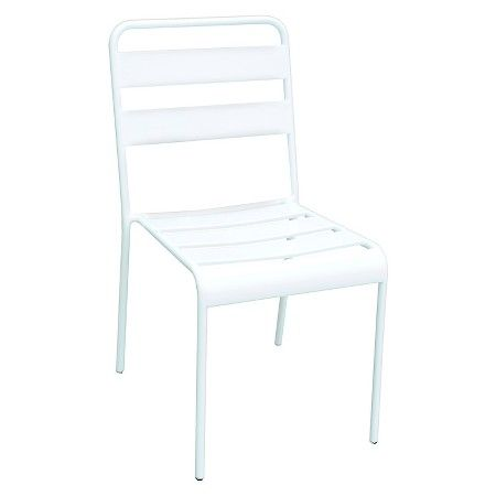 Metal Stack Patio Chair White