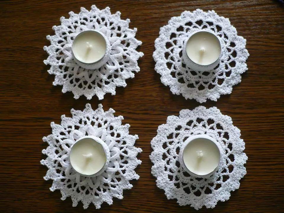 Crochet tealight | NAVIDAD | Pinterest | Patrón de ganchillo ...