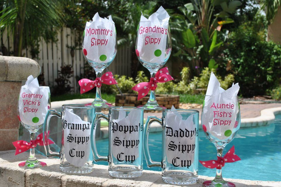 Personalized Pregnancy Announcement Glasses.....Great Hot Item. $75.00, via Etsy.