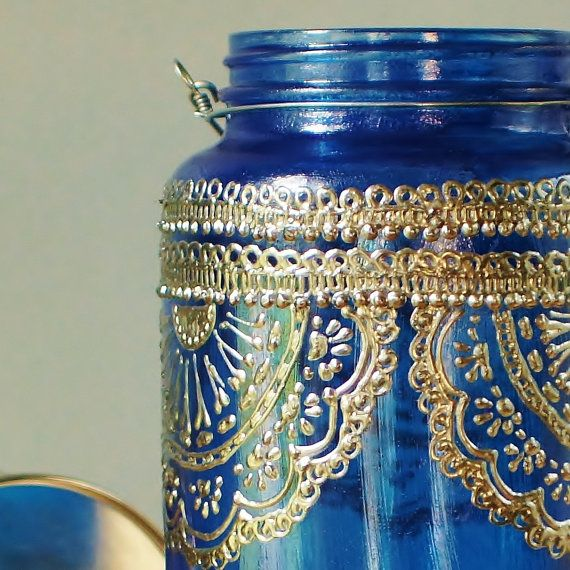 Azure Blue Glass Moroccan Jar Lantern with Dark Pewter by LITdecor