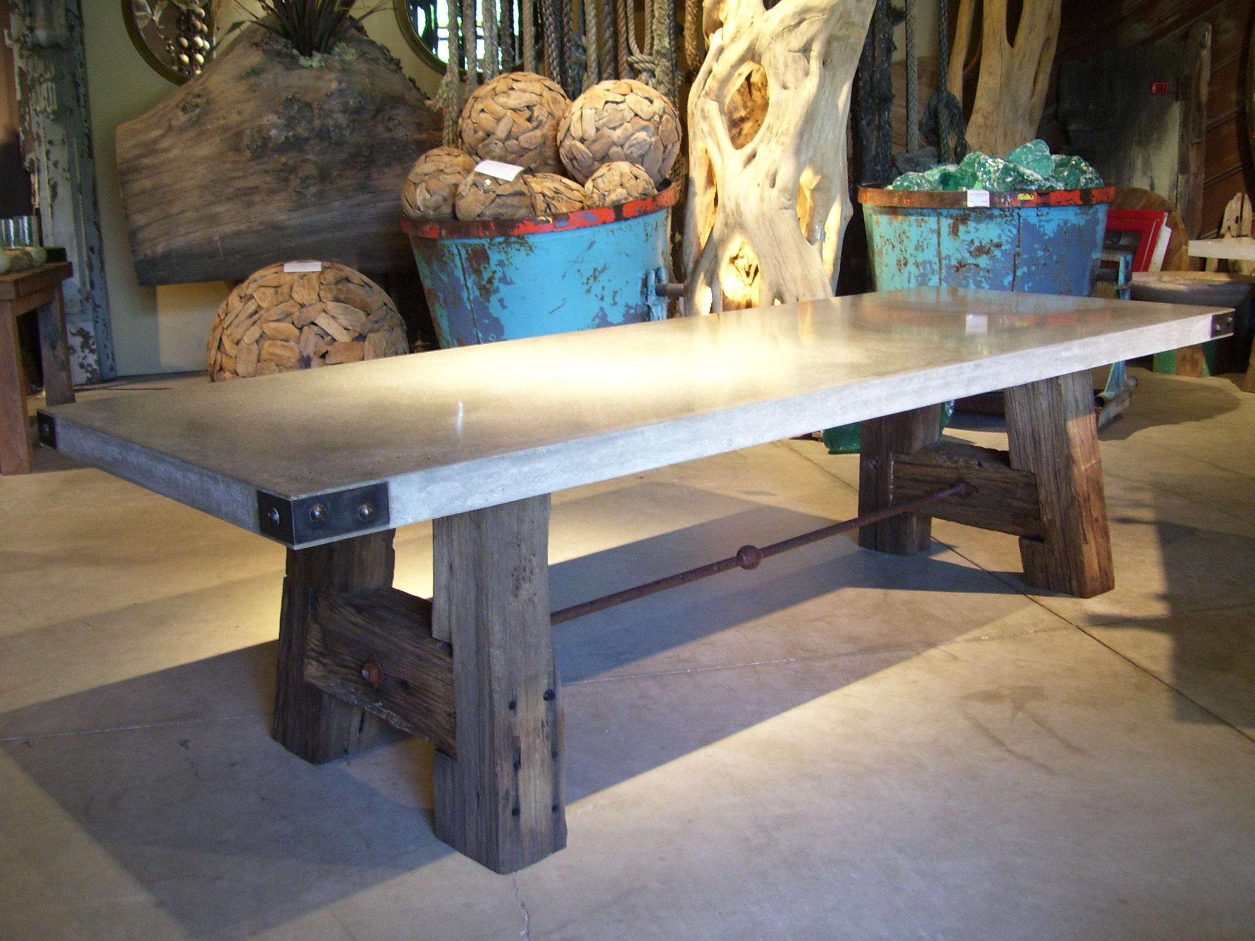 Our Trestle Table Features Antique Redwood Railroad Ties