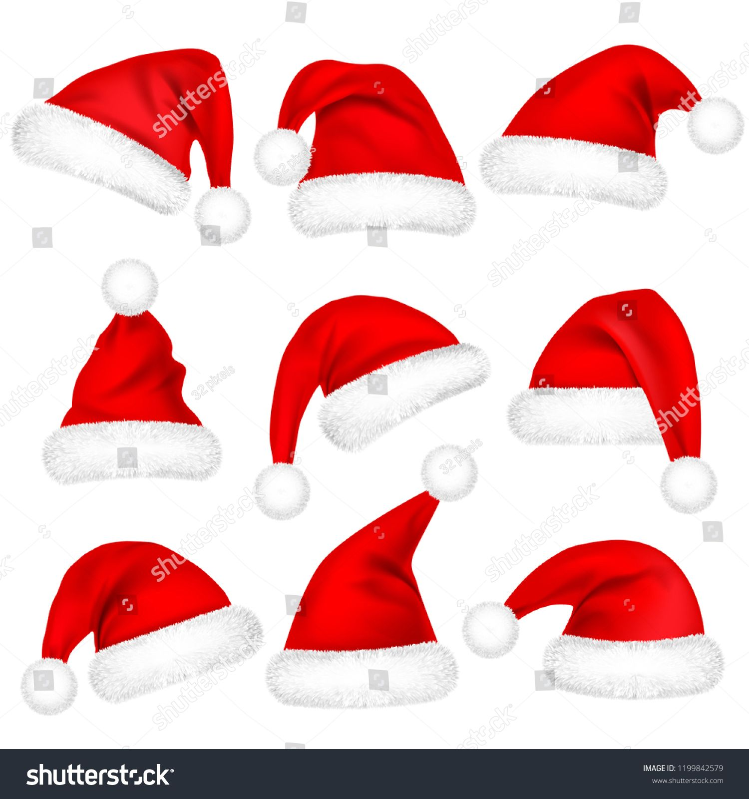 Christmas Santa Claus Hats With Fur Set New Year Red Hat Isolated On White Background Winter Cap Vector Illustration Santa Claus Hat Santa Claus Winter Cap