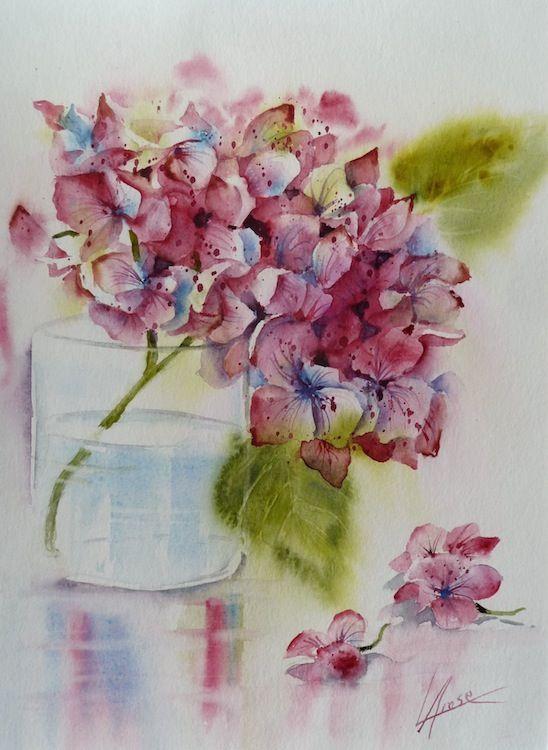 Aquarelle Hortensia En Verre30x40 Aquarelle Aquarelle Fleurs
