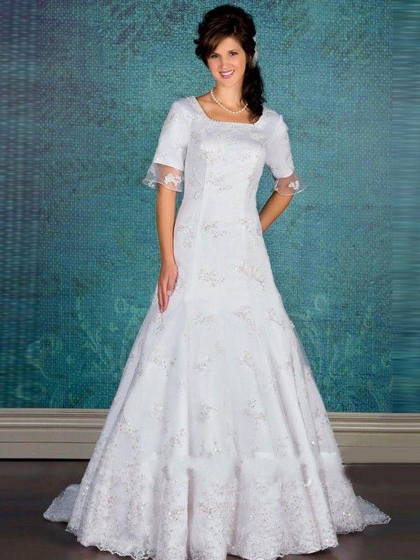 elegant a lineprincess square chapel satin lace modest wedding ...
