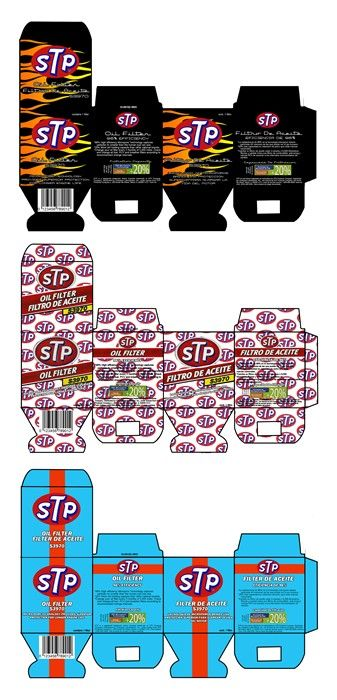 STP oil filter boxes. Created as a class assignment. Made in Photoshop. By Nicole Esche, Package Design, Advertising, Throwback, Racing, Andy Granatelli Inspired, STP, Richard Petty, Indy 500, Indycar, NHRA, Hot Rod Nicole Esche Graphic Design Milwaukee