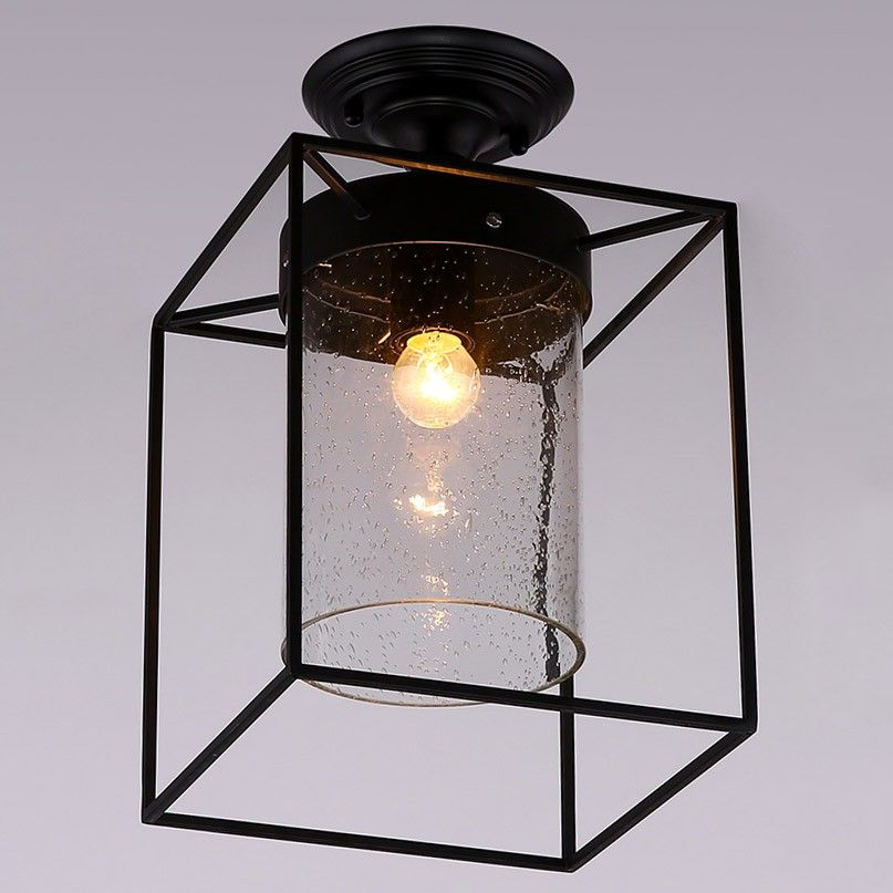 Retro Seeded Glass Shade Semi Flush Mount With Black Metal