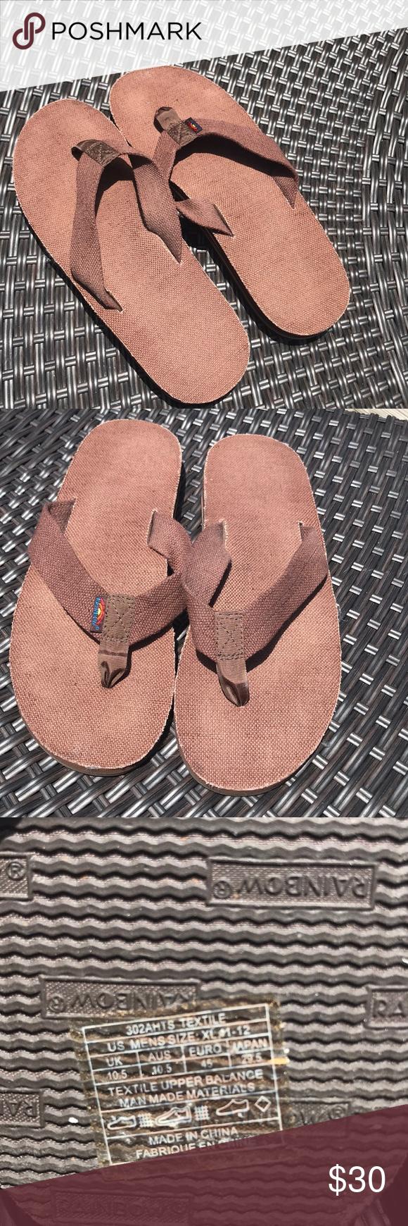 942eb5416f6623 Men s Brown Hemp Rainbow 🌈 flip flops