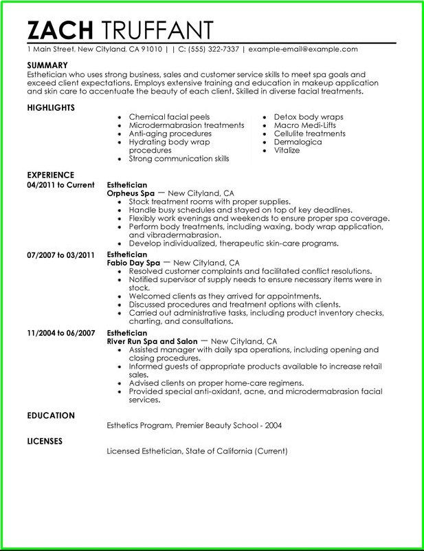 Entry Level Esthetician Resume Sample  HttpResumesdesignCom