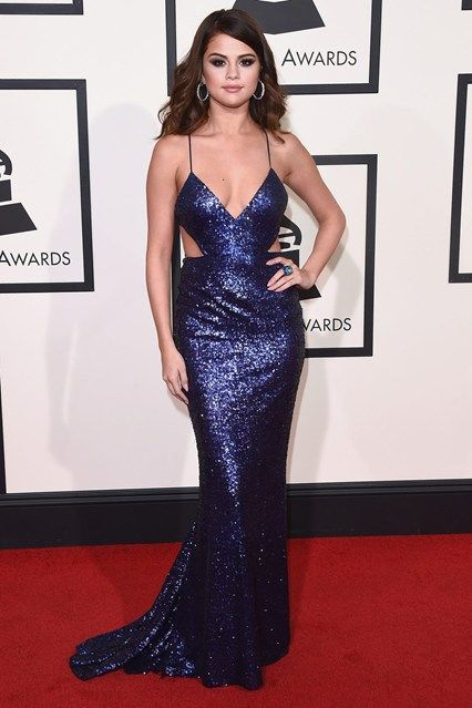 Selena Gomez in a Calvin Klein Collection gown and David Webb jewellery, Grammy Awards 2016