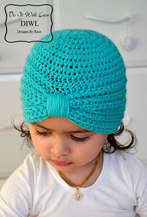 Baby Kinder Turban Style Mütze Häkelanleitung | Häkeln für Kinder ...