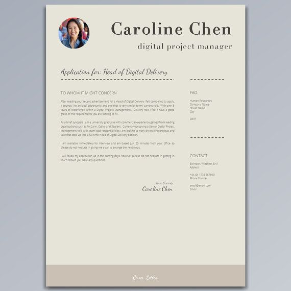 Resume Template CV Template + Cover Letter + Job Application - digital project manager resume