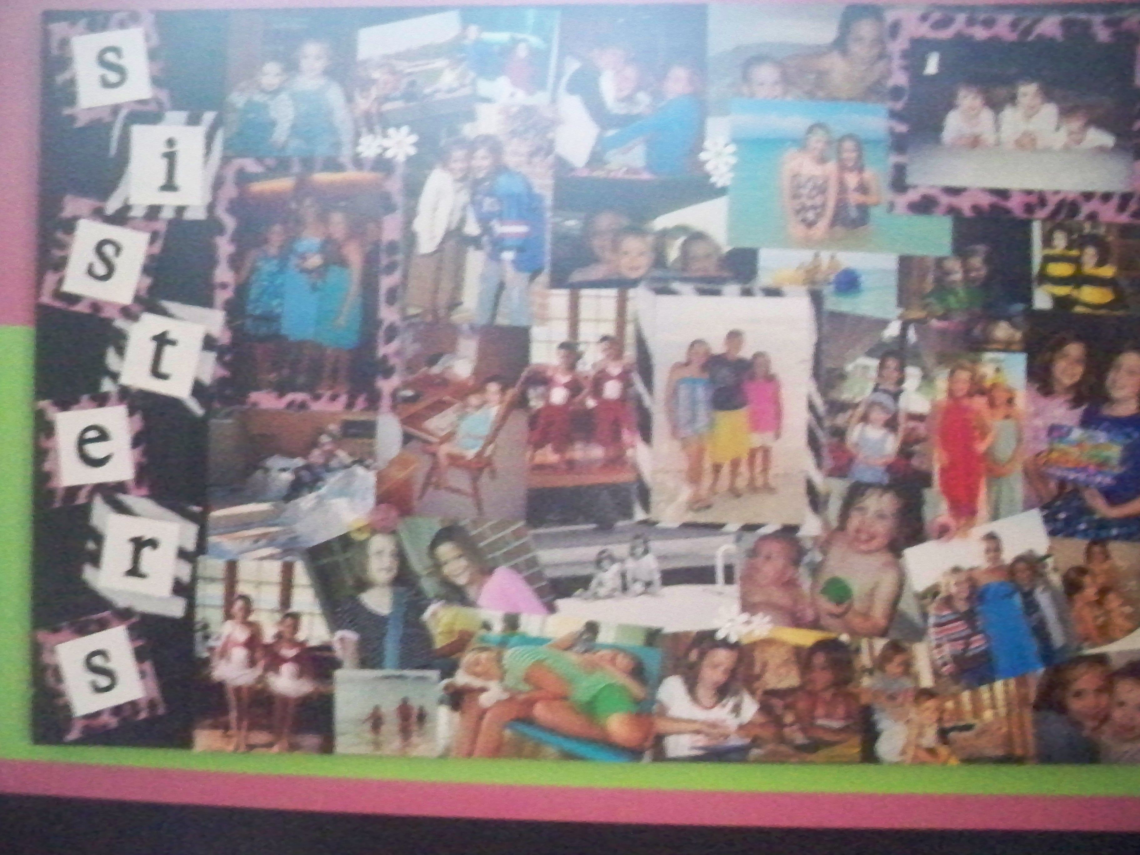 this is just a collage of pictures modge podged together on a poster