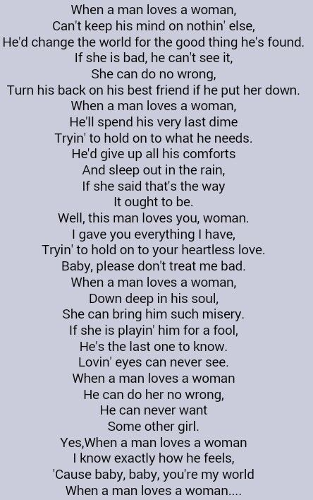Percy Sledge When A Man Loves A Woman Great Song Lyrics My