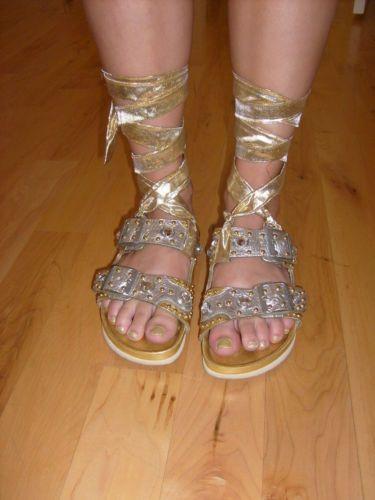 official photos 1c240 e4426 Special Edition Heidi Klum Birkenstock Sapphire Gold Silver ...
