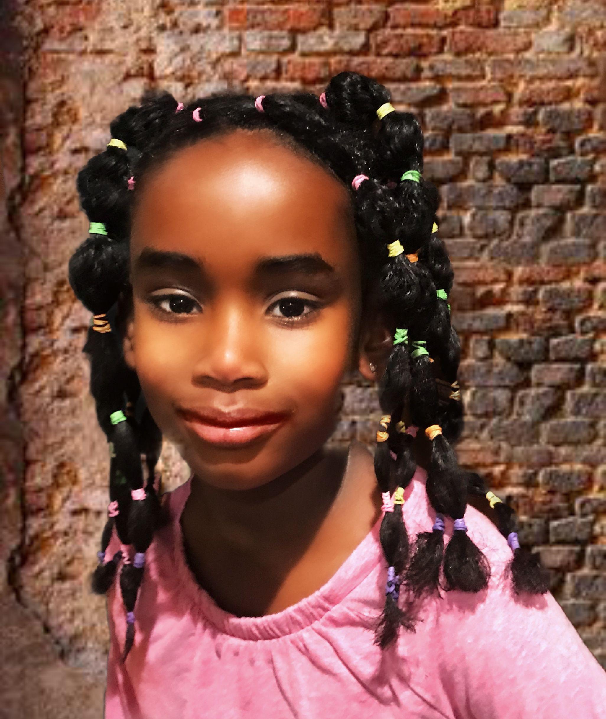 Rubber band style easy | Little black girls braids, Hair ...