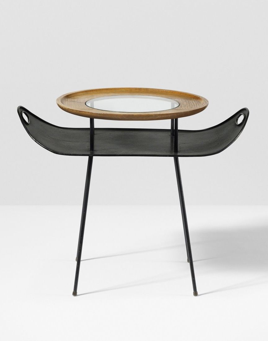Mathieu Matégot Enameled Steel Oak Glass and Brass Occasional