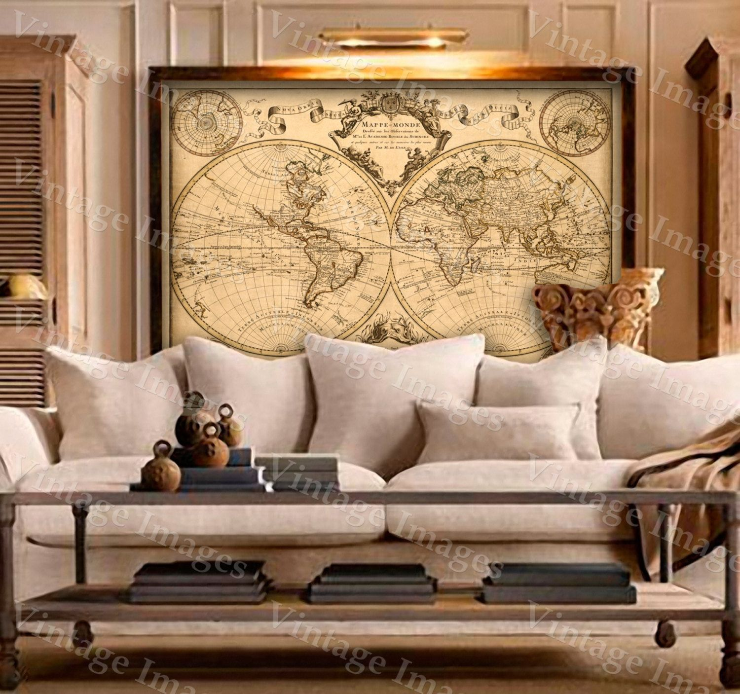 World Map Home Decor Lisles 1720 Old World Map Historic Map Antique Style World Map