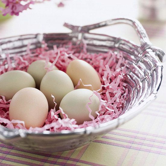 Silver Easter basket centerpiece