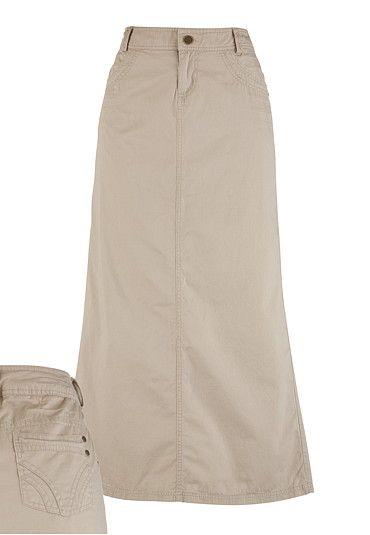 478b8f34de Long Scoop Pocket Khaki Skirt - Regular Length | My Style | Khaki ...