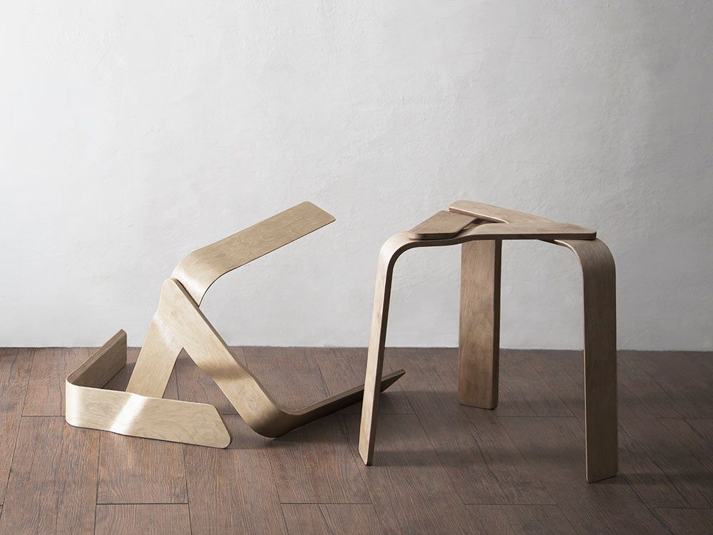 Molinari Sedie ~ A bent plywood stool held together with strong magnets plywood