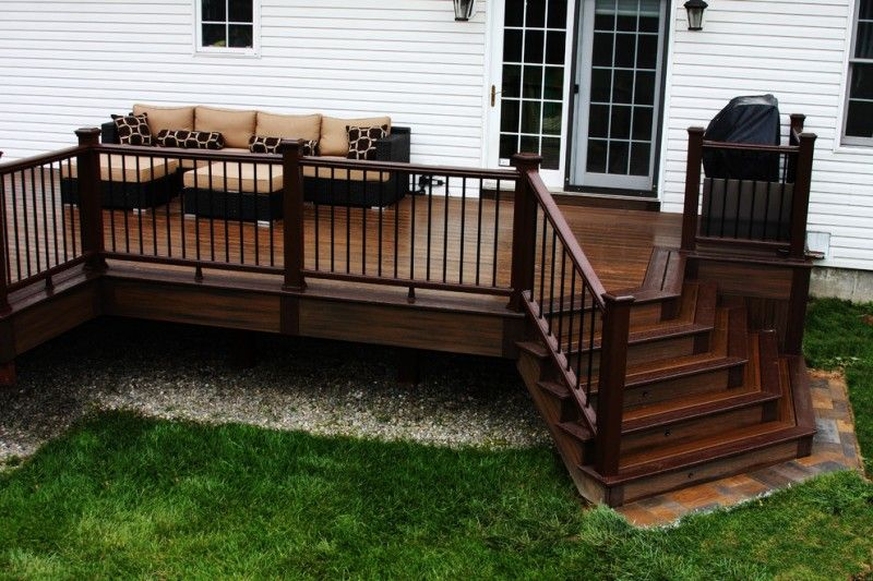 Dark Wood Finished Deck With Dark Wood Rails Skirt And