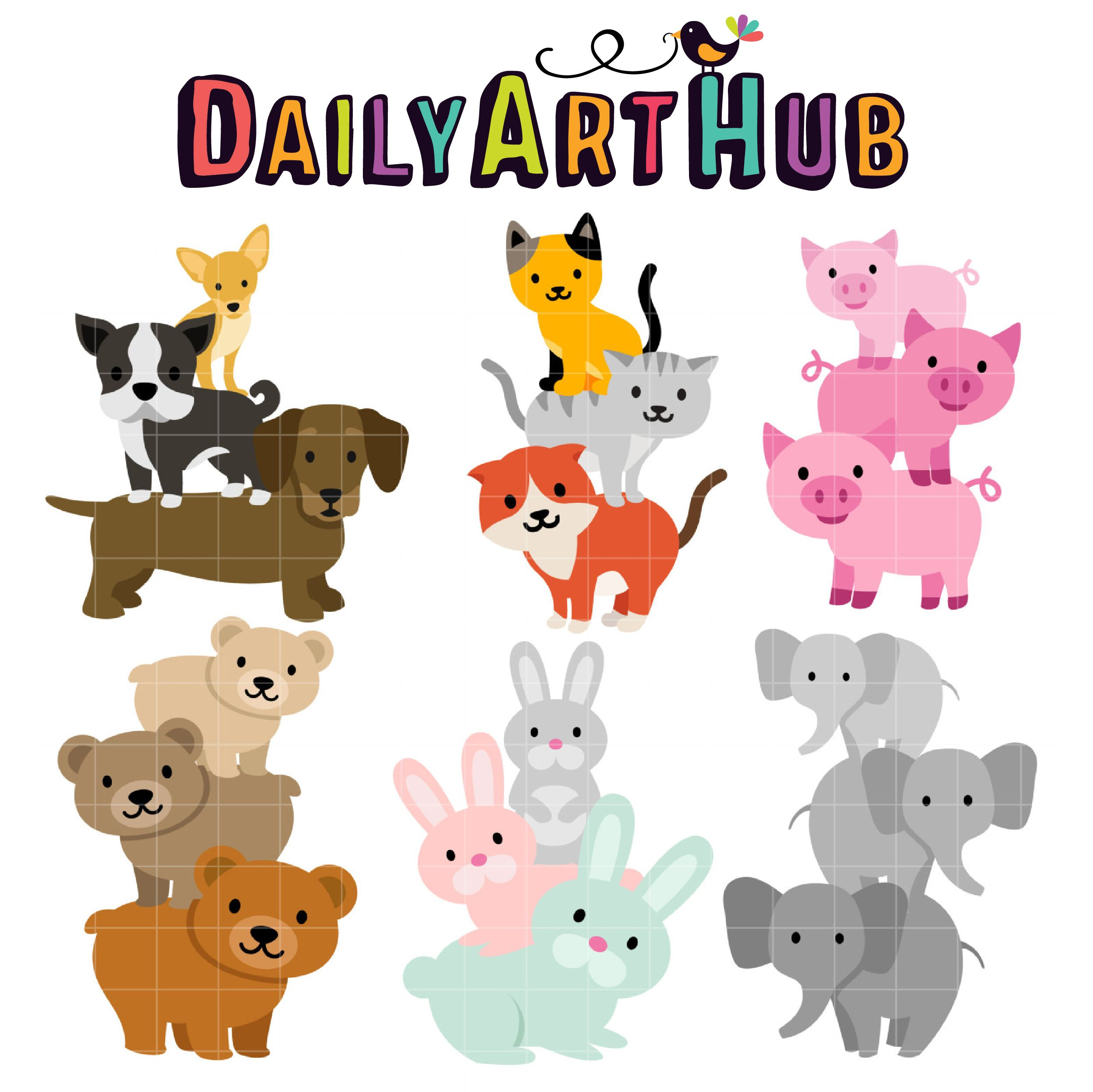 Stack Up Animals Clip Art Set – Daily Art Hub – Free Clip Art