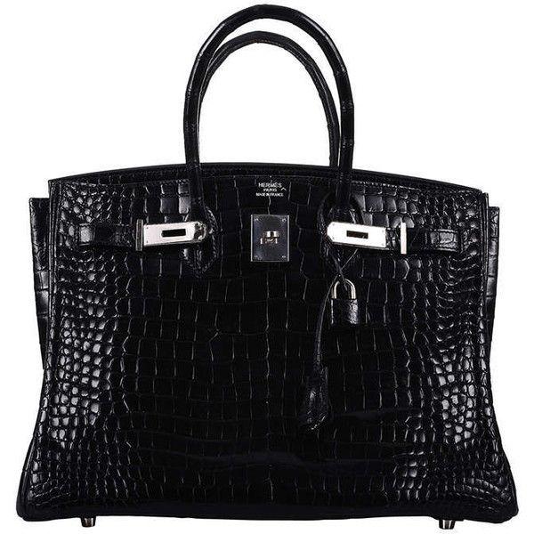 THE BEST EVER HERMES BIRKIN BAG 35cm BLACK CROCODILE POROSUS PALLADIUM... ($55,500) ❤ liked on Polyvore