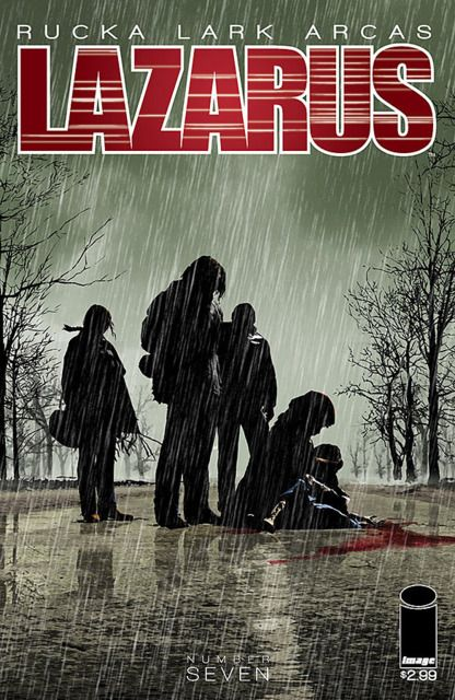 The cover to Lazarus #7 (2014), art by Michael Lark