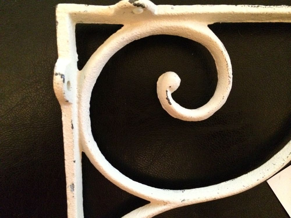 Pair Vintage Iron Corbels shelf brackets, Countertop supports Cream Color NWT