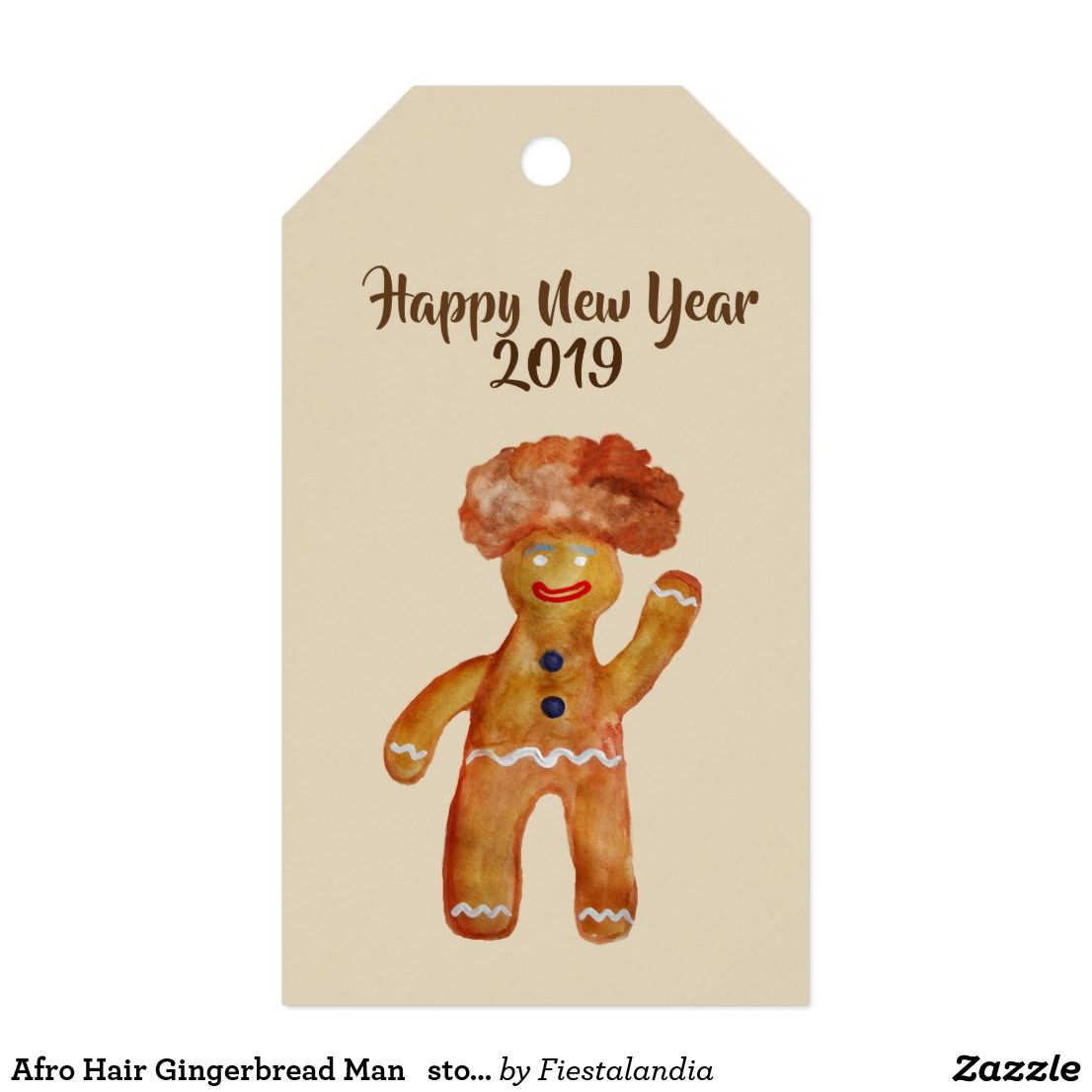 Afro Hair Gingerbread Man Stom Gift Tag