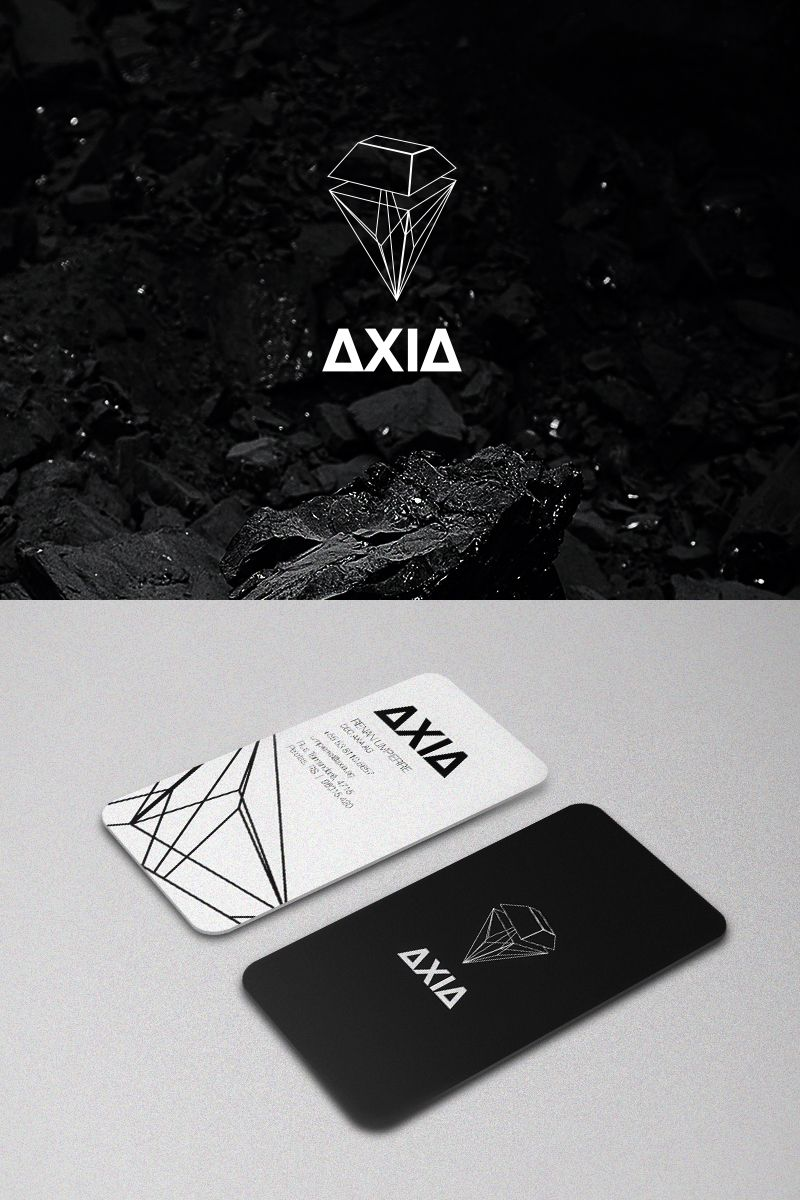 Business Card Two Sided Black And White Angles Geometric Simple
