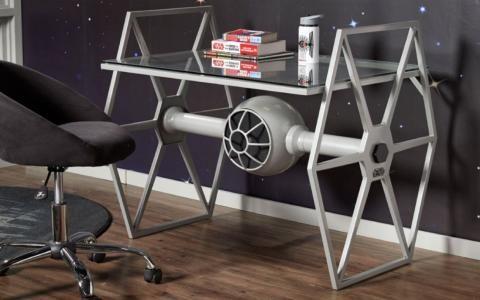 star wars tie fighter gray desk by rooms to go in furniture devin rh pinterest com star wars desktop star wars desk calendar 2019