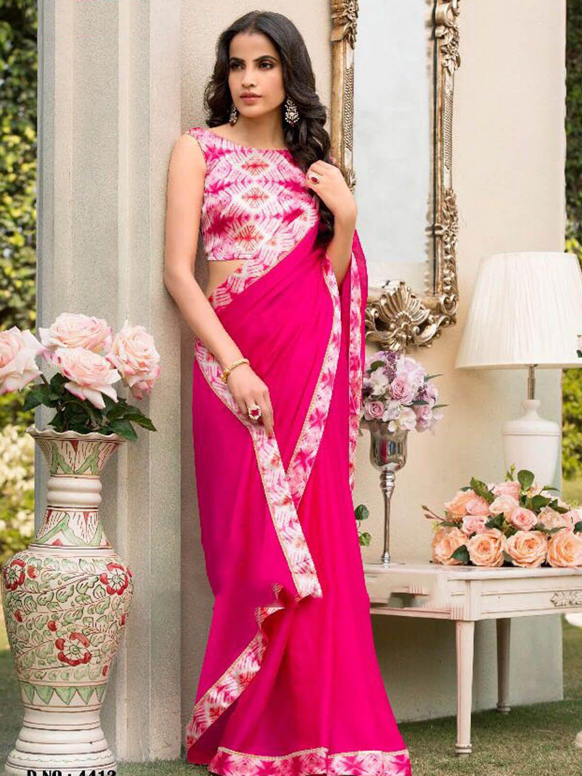 Generous Pink Chiffon Ceremonial Wear Designer Saree Having