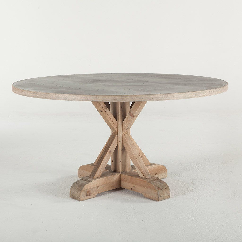 Grange Rustique Round Dining Table Zinc Dining Tables Dining Table Oval Kitchen Table Zinc top round dining table