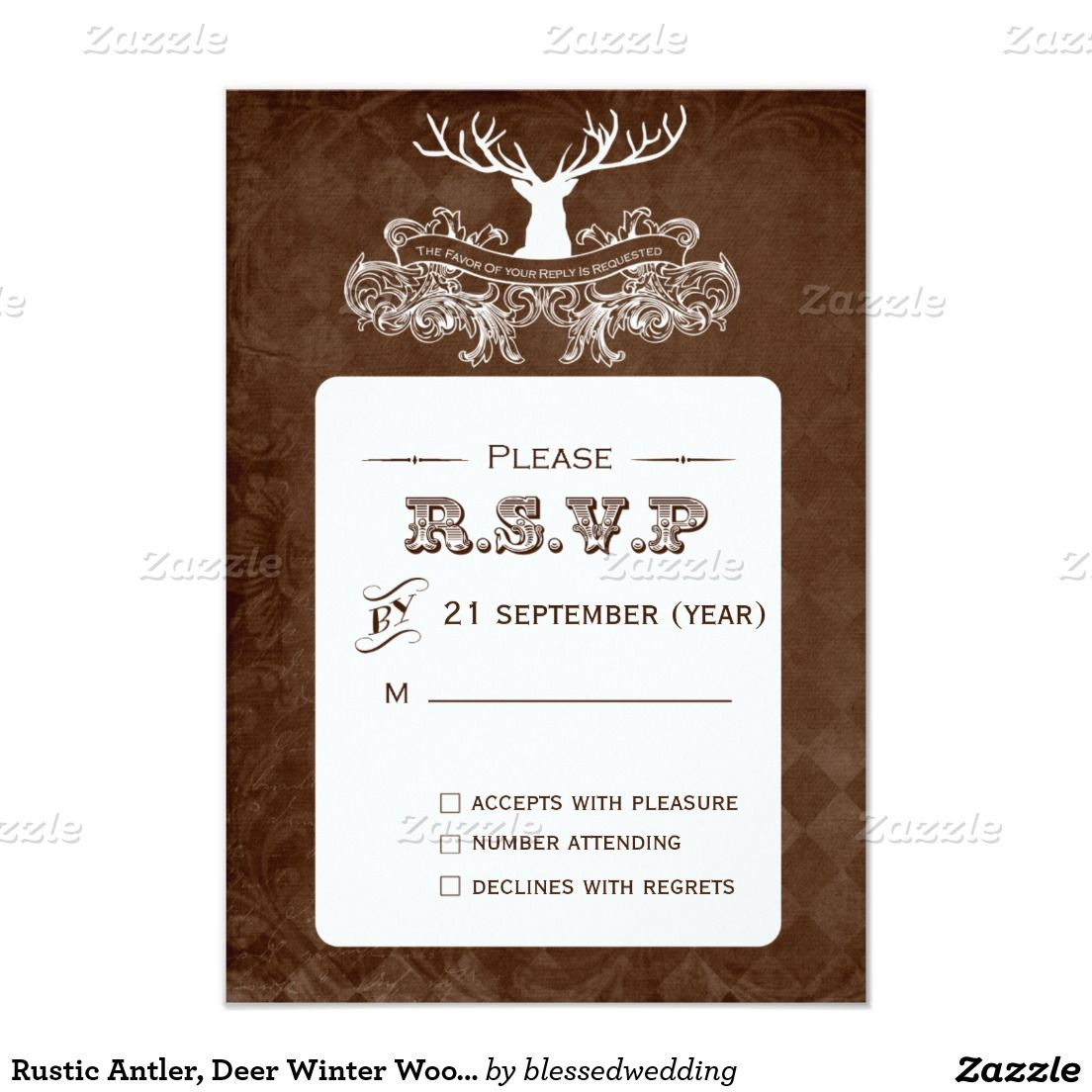 Rustic Antler Deer Winter Woodland rsvp 3 5 x 5 Card