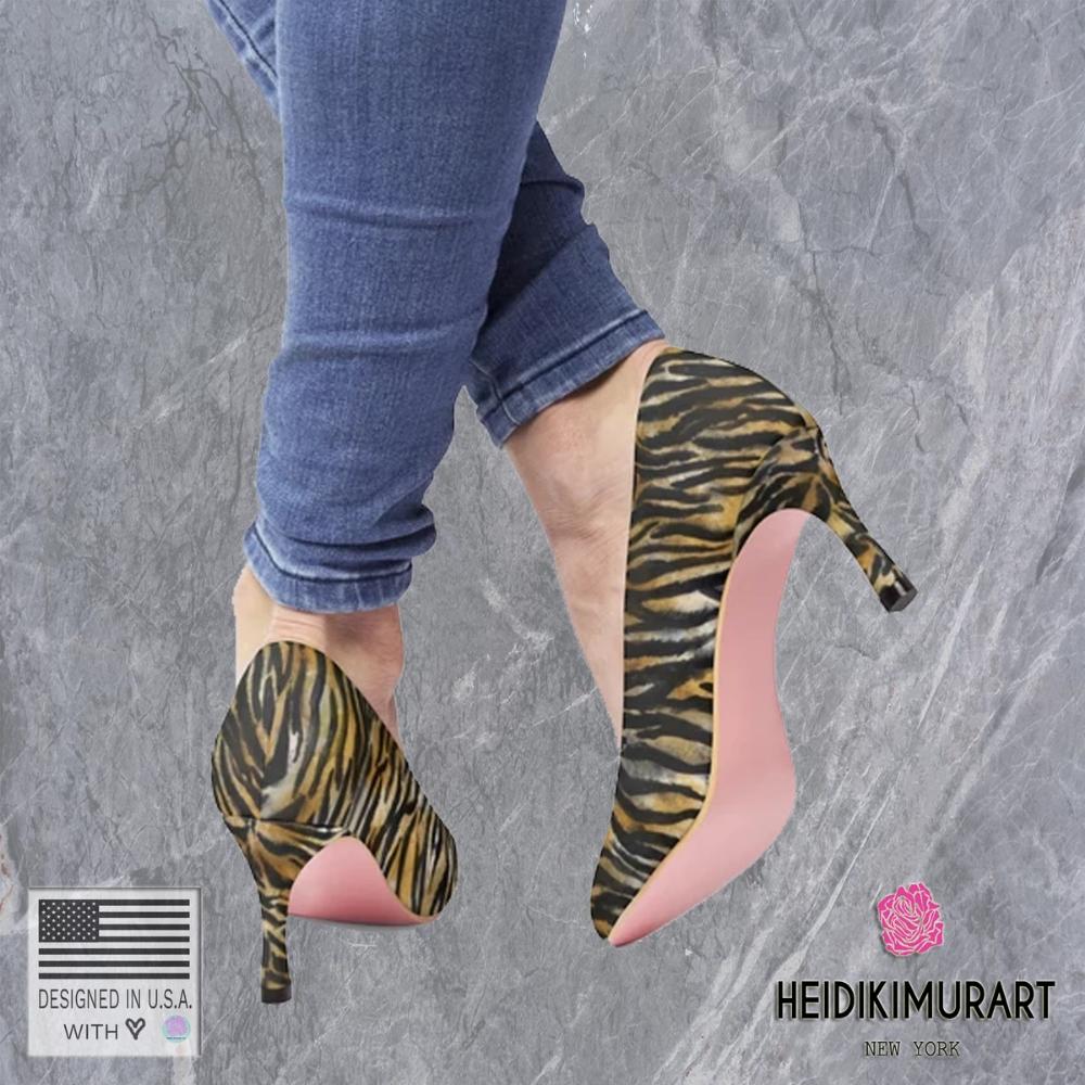 "Wild Bengal Tiger Stripe Designer Women's 3"" High Heels"