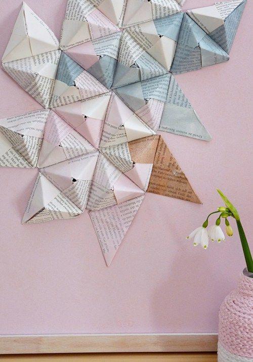 Origami wandbild diy origami papier basteln mit for Origami zimmer deko