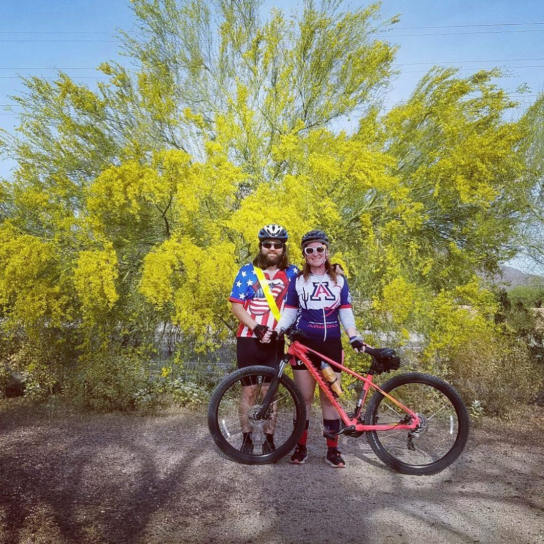 """4.19.20 """"bicycle day"""" so we took a ride up near Rob's family home since it was the last day it belonged to them as the papers for sale would be final the next day. We also wanted a picture with the spring colors of a paloverde. #bicycleday #bikeday #bicycle #bike #springbikeride #paloverde #lfamilyhome #home #childhoodhome #checkiday #holidayaday #holidayoftheday #everydayisaholiday #holidayeveryday #everydayholiday #365daysofholiday #365daysofholidays #celebratetheholiday #celebratetheholidays"""