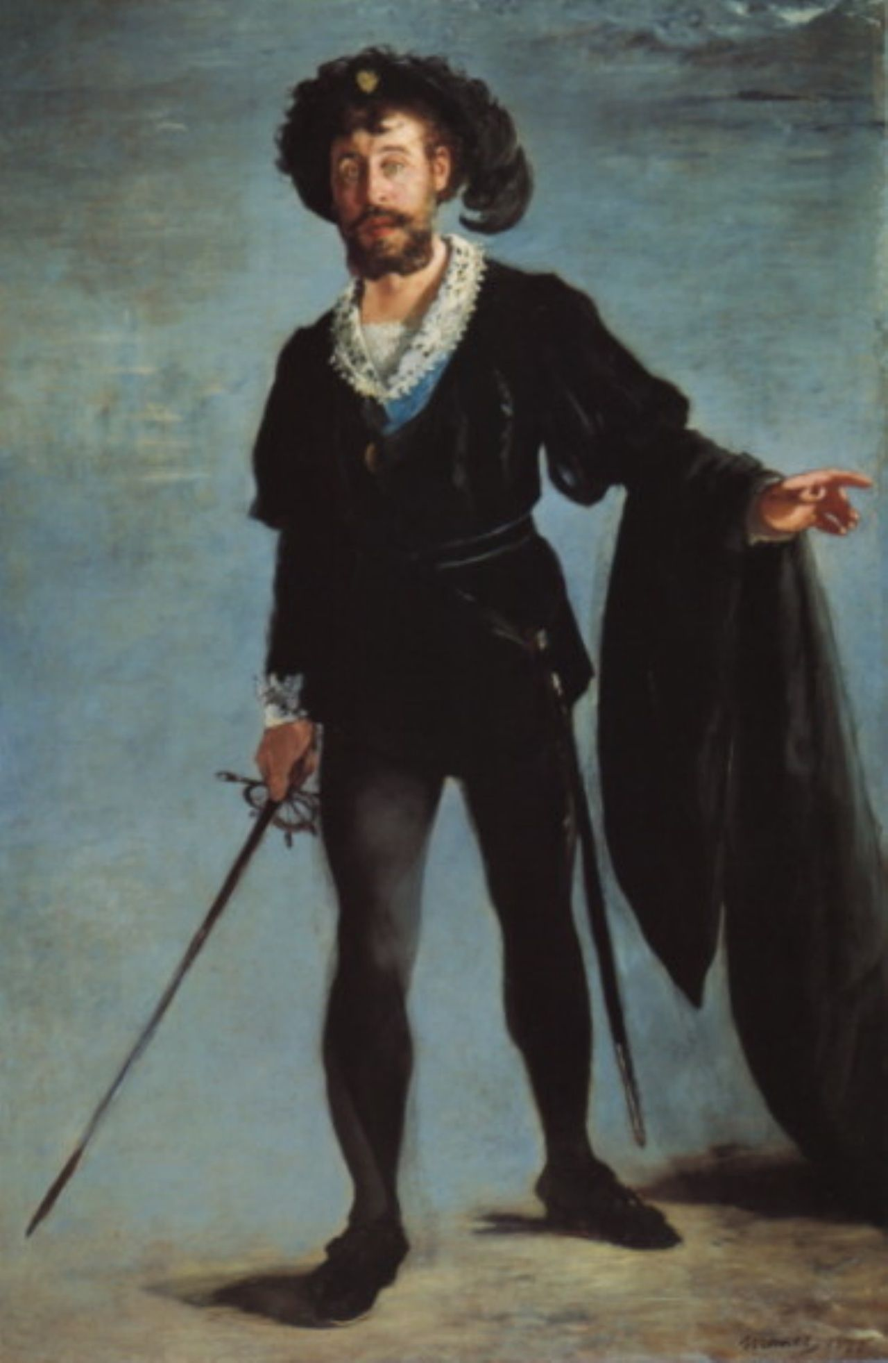 Édouard Manet (French Impressionist painter, 1832–1883) Jean-Baptiste Faure as Hamlet, 1877. Oil on canvas, 194 x 131.5 cm. Museum Folkwang, Essen, Germany.