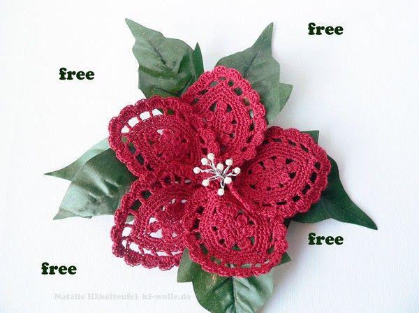 Jetzt gratis Weihnachts-Blumen häkeln /// Poinsettia /// Weihnachts ...