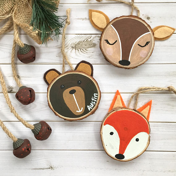 Set of 3 Personalised Woodlands Animal wood slice ornaments. Woodland animals tree decor.  Bear Fox and Deer custom ornaments. Woodland Set