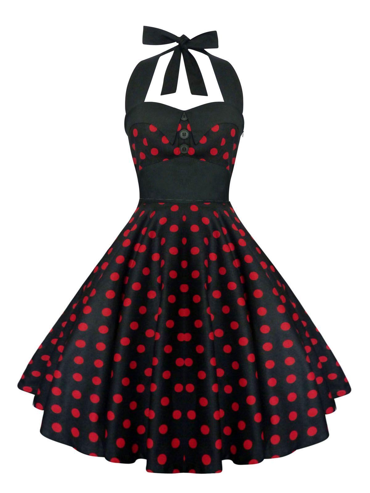 Rockabilly Pin Up Black Red Polka Dot Dress Gothic Halloween Retro