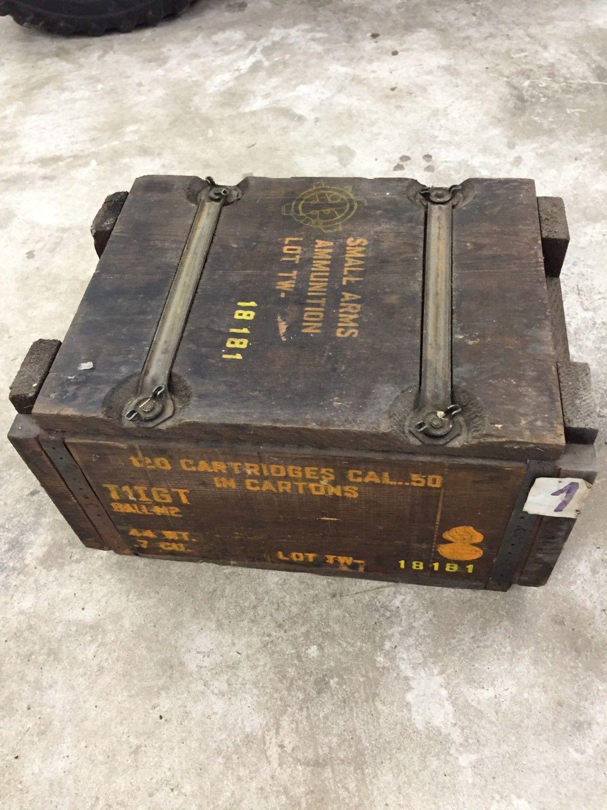 Details About Vintage Antique Ww2 Us Ammunition Ammo Box Can Cal 30