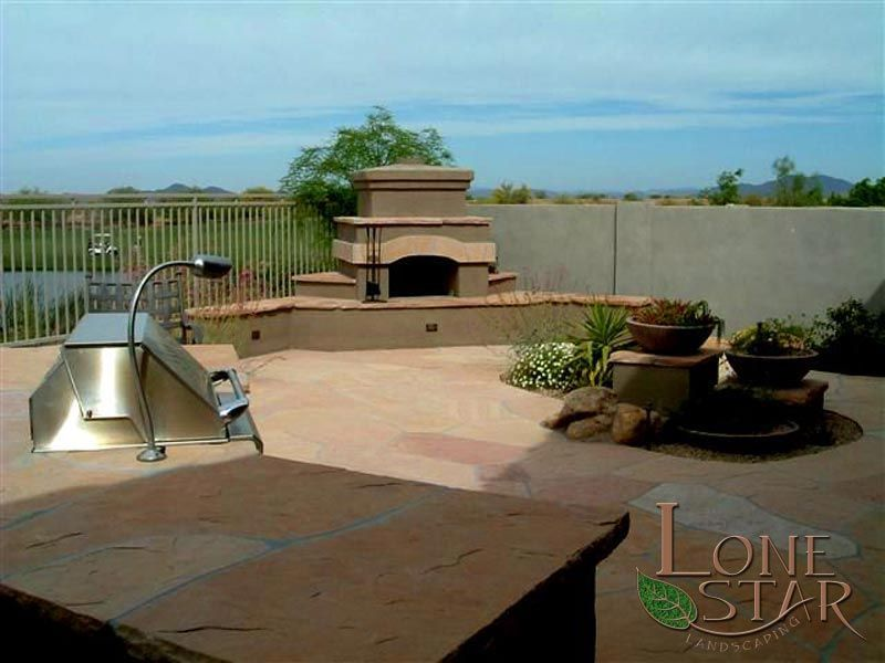 Outdoor fireplace and barbecue with low voltage lighting in cave outdoor fireplace and barbecue with low voltage lighting in cave creek az lonestaraz mozeypictures Gallery