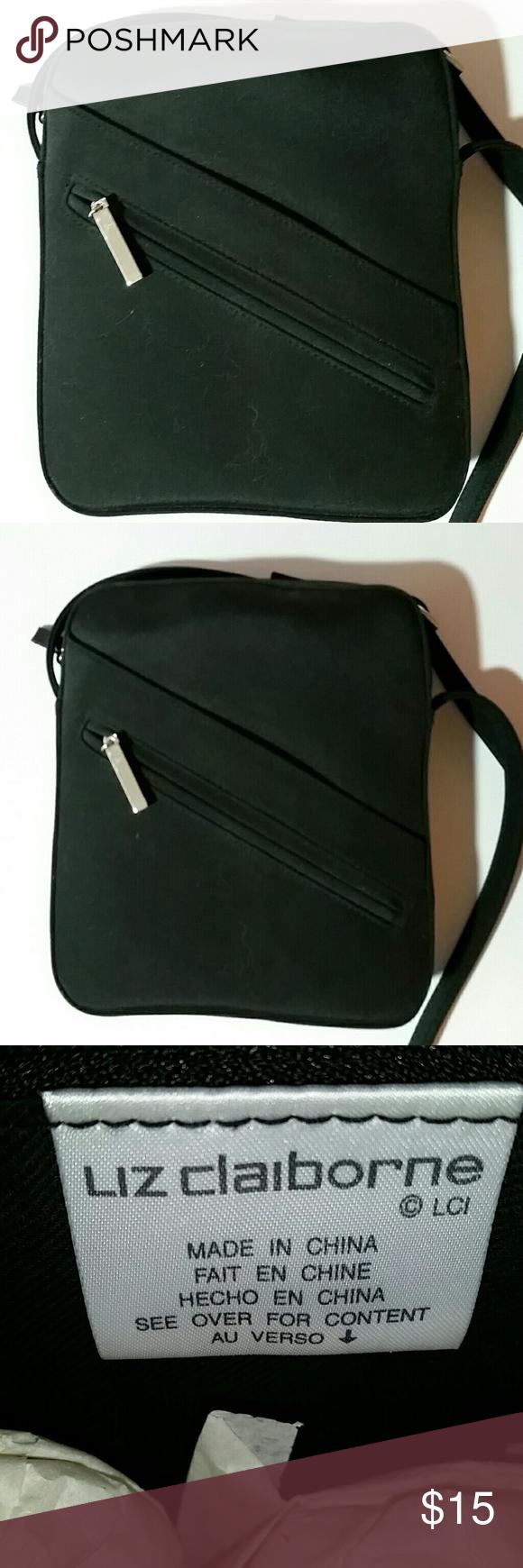 "Liz Claiborne Black Microfiber Crossbody Bag Liz Claiborne, black, microfiber l, cross body bag. Front zip & top zip. About 7.5"" x 9"", 45"" adjustable strap. Zipper pocket inside. 55% cotton/45% polyester. Liz Claiborne Bags Crossbody Bags"