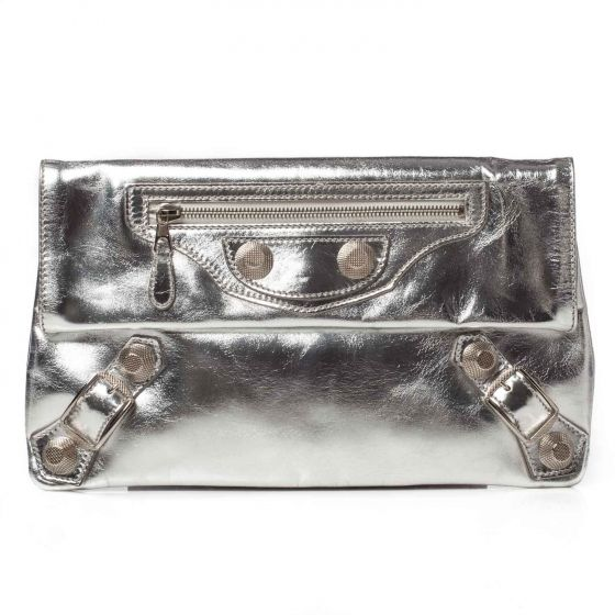 91e148d5826 This is an authentic BALENCIAGA Laminated Calfskin Giant 21 Envelope Clutch  Silver. The sophisticated features