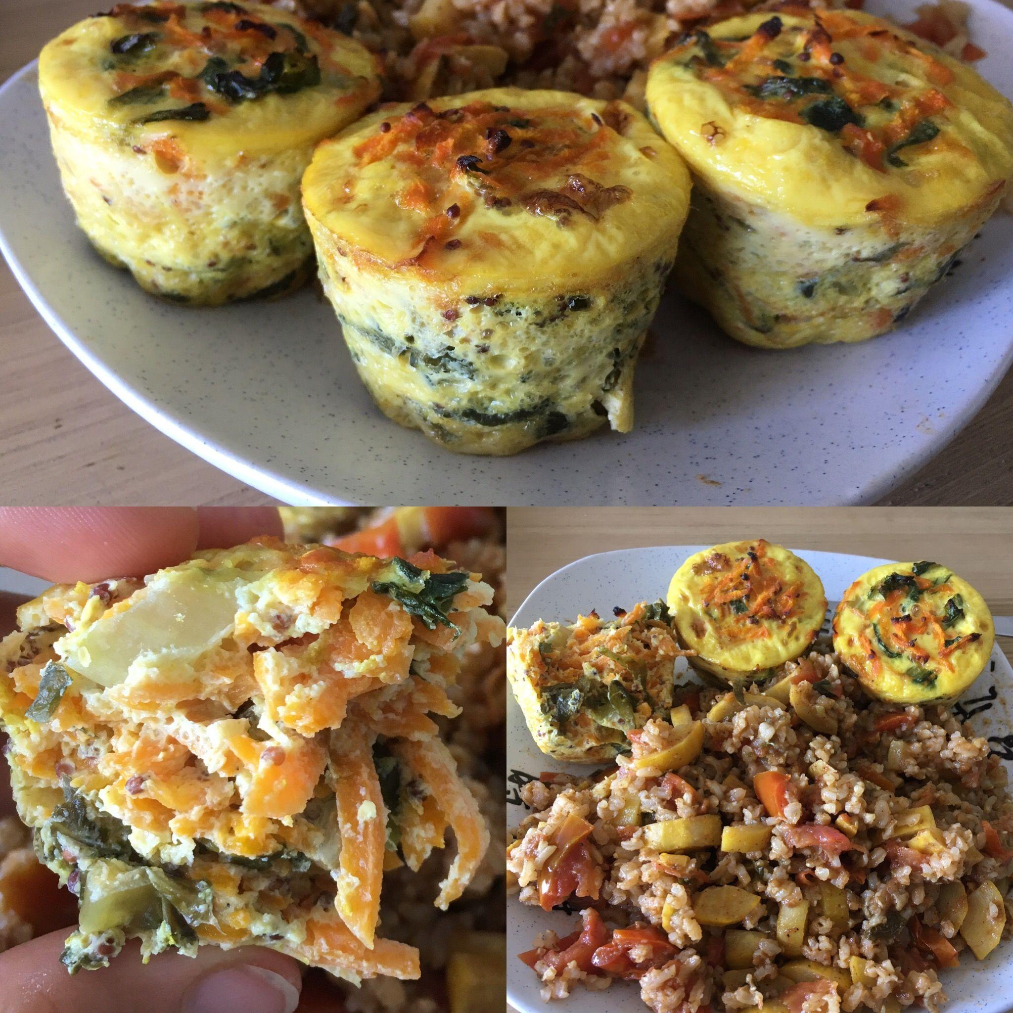👩🍳🥕🥗  Flans végétariens aux légumes RECETTE : - Cuire légumes en julienne (ici carottes rapées + laitue) - Mélanger aux oeufs - Faire cuire 20 minutes à 350 au four
